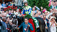LOUISVILLE, KY - MAY 06: Winning jockey John Velazquaz enters the winner's circle after Always Dreaming #5 won the Kentucky Derby on Kentucky Derby Day at Churchill Downs on May 6, 2017 in Louisville, Kentucky. (Photo by Candice Chavez/Eclipse Sportswire/Getty Images)