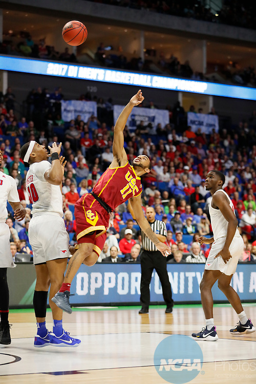 TULSA, OK - MARCH 17: Jordan McLaughlin (11) of the USC Trojans attempt a floating jump shot during the 2017 NCAA Men's Basketball Tournament held at the BOK Center on March 17, 2017 in Tulsa, Oklahoma. (Photo by David Klutho/NCAA Photos via Getty Images)