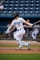 Biloxi Shuckers Weston Wilson (2) at bat during a Southern League game against the Montgomery Biscuits on May 8, 2019 at MGM Park in Biloxi, Mississippi.  Biloxi defeated Montgomery 4-2.  (Mike Janes/Four Seam Images)