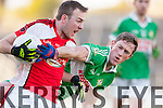 Jonathan Lyne Legion stops Rathmore's George O'Keeffe during the O'Donoghue Cup final in Fitzgerald Stadium on Sunday