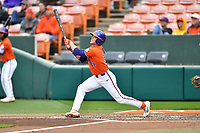 Clemson Tigers right fielder Michael Green (11) swings at a pitch during a game against the North Carolina Tar Heels at Doug Kingsmore Stadium on March 9, 2019 in Clemson, South Carolina. The Tigers defeated the Tar Heels 3-2 in game one of a double header. (Tony Farlow/Four Seam Images)