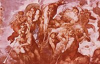 "Vatican:  Sistine Chapel-- Wall painting detail--""The Last Judgment""."