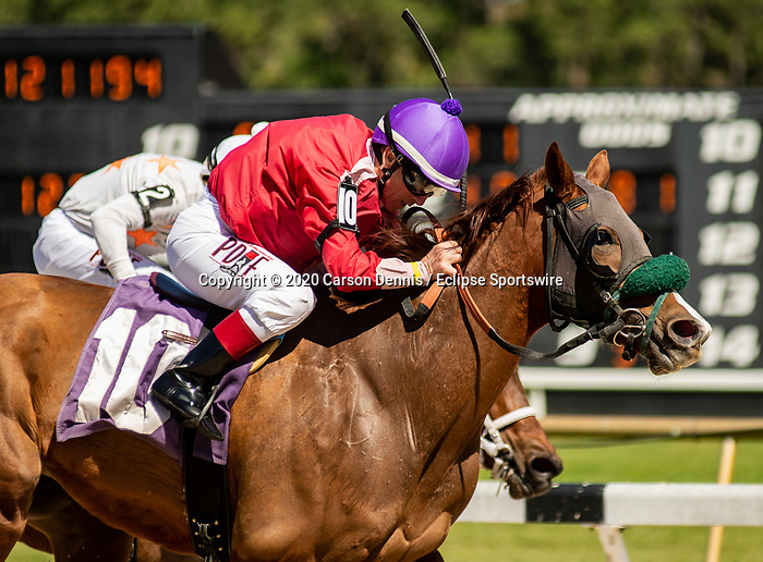 March 7, 2020: #10, COCKTAILS OR CANDY takes the undercard with Jockey C C Lopez for Trainer Philip Wasiluk, Jr. on Tampa Bay Derby Day on March 7, 2020 in Tampa, FL. (Photo by Carson Dennis/Eclipse Sportswire/CSM)