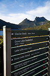 Walks information at Cradle Mountain.  Cradle Mountain-Lake St Clair National Park, Tasmania, AUSTRALIA