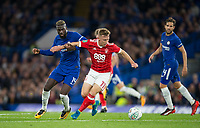 Ben Osborn of Notthingham Forest holds off Tiemoue Bakayoko of Chelsea during the Carabao Cup (Football League cup) 23rd round match between Chelsea and Nottingham Forest at Stamford Bridge, London, England on 20 September 2017. Photo by Andy Rowland.