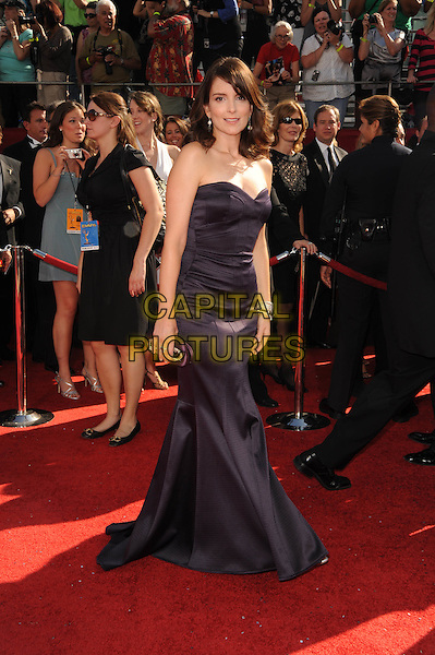 TINA FEY .The 60th Annual Primetime Emmy Awards held at The Nokia Theatre in Los Angeles, California, USA, .September 21st 2008.     .emmys red carpet arrivals full length strapless black dress long maxi .CAP/DVS.©Debbie VanStory/Capital Pictures