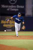 Lakeland Flying Tigers shortstop Isaac Paredes (3) fields a ground ball during the second game of a doubleheader against the Tampa Tarpons on May 31, 2018 at George M. Steinbrenner Field in Tampa, Florida.  Lakeland defeated Tampa 3-2.  (Mike Janes/Four Seam Images)