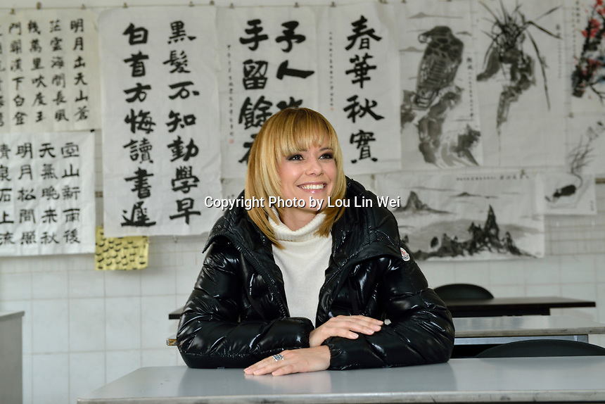 "Swiss singer and TV presenter visits ""SOS Kinderdorf"" in Tianjin, China.  22-Mar-2016"