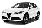 2020 Alfaromeo Stelvio Super 5 Door SUV Angular Front automotive stock photos of front three quarter view