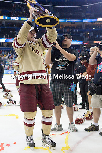 Paul Carey (BC - 22) - The Boston College Eagles celebrate their national championship win in the 2012 Frozen Four on Saturday, April 7, 2012, at the Tampa Bay Times Forum in Tampa, Florida.