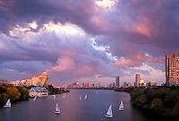 Sunset with storm clouds, Boston University, MA