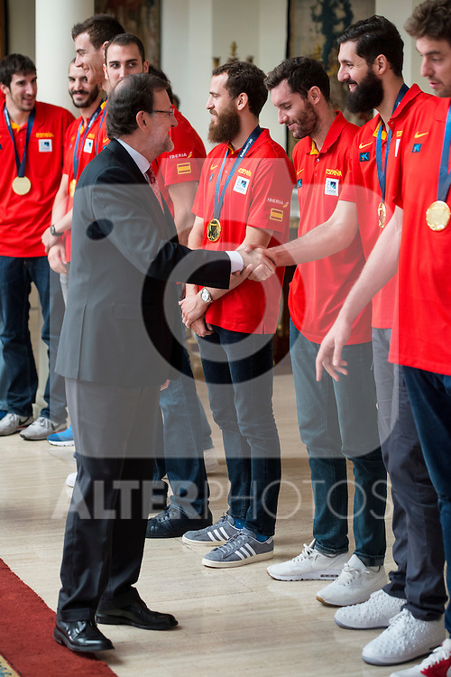 The reception of Prime Minister Mariano Rajoy to Spain national basketball team gold at EuroBasket 2015 at Moncloa Palace in Madrid, 21 September, 2015.<br /> Prime Minister Mariano Rajoy and  Nikola Mirotic.<br /> (ALTERPHOTOS/BorjaB.Hojas)
