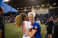 Seattle, WA - Wednesday, June 28, 2017: Megan Rapinoe and Casey Short during a regular season National Women's Soccer League (NWSL) match between the Seattle Reign FC and the Chicago Red Stars at Memorial Stadium.