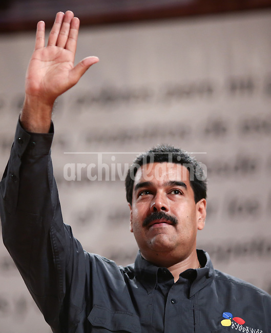 Venezuelan President and presidential candidate Nicolas Maduro during the inauguration of the book fair of Caracas, Venezuela.Maduro will face opposition leader Henrique Capriles in a national election to choose the successor of Hugo Chavez