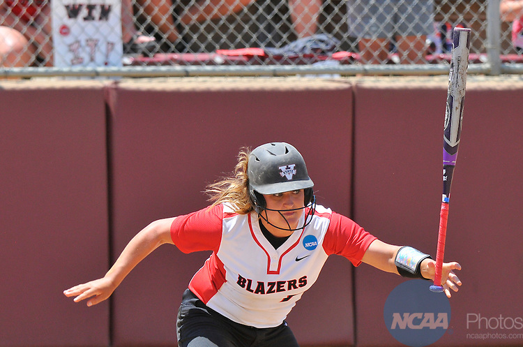 26 MAY 2014: Morgan Butler (7) of Valdosta State University heads to first base after a hit during the Division II Women's Softball Championship held at the Moyer Sports Complex in Salem, VA.  West Texas defeated Valdosta State 3-2 for the national title.  Andres Alonso/NCAA Photos