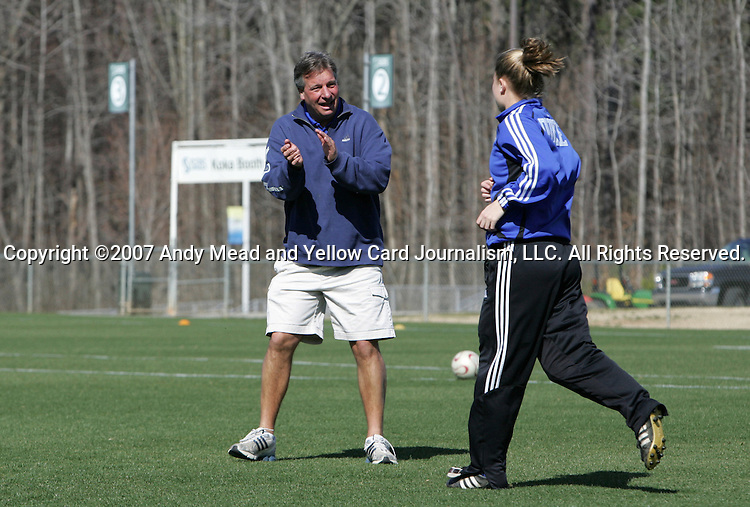 Duke head coach Robbie Church encourages Rebecca Moros (r) on Saturday, March 3rd, 2007 on Field 1 at SAS Soccer Park in Cary, North Carolina. The University of Florida Gators played the Duke University Blue Devils in an NCAA Division I Women's Soccer spring game.