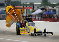Apr. 29, 2012; Baytown, TX, USA: NHRA top fuel dragster driver Spencer Massey during the Spring Nationals at Royal Purple Raceway. Mandatory Credit: Mark J. Rebilas-
