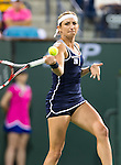 Timea Bacsinszky (SUI) during her quarterfinal match against Serena Williams (USA). Serena defeated a tough Bacsinszky with a score of 75 63 at the BNP Parisbas Open in Indian Wells, CA on March 18, 2015.