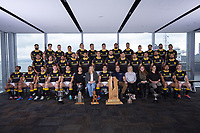RobLawMax Recruitment sponsors. The 2019 Wellington Lions Mitre 10 Cup rugby team photo at Westpac Stadium in Wellington, New Zealand on Friday, 11 October 2019. Photo: Dave Lintott / lintottphoto.co.nz