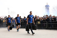 Charlie Ewels and the rest of the Bath Rugby team arrive at Twickenham Stadium. Gallagher Premiership match, The Clash, between Bath Rugby and Bristol Rugby on April 6, 2019 at Twickenham Stadium in London, England. Photo by: Rogan Thomson / JMP for Onside Images