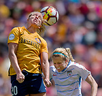 Utah Royals FC forward Elise Thorsnes (20) heads the ball over Chicago Red Stars midfielder Nikki Stanton (2)  in the first half Saturday, April 14, 2018, during the National Woman Soccer League game at Rio Tiinto Stadium in Sandy, Utah. (© 2018 Douglas C. Pizac)