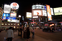 Toronto (ON) CANADA - April 2008 File Photo...Yonge-Dundas Square (commonly called Dundas Square)is a public square in downtown Toronto, Ontario, Canada. It is located on the southeast corner of Yonge Street and Dundas Street. It was opened to the public in November 2002..Designed by Brown + Storey Architects, the square was intended as a new public space in Toronto, somewhat akin to Nathan Phillips Square...The intersection is claimed by some, to be the busiest intersection in Canada with over 56 million people each year who pass this intersection to work, play or shop. It is sometimes nicknamed as Toronto's Times Square, as development is cited as modelling New York's Times Square, Tokyo's Shibuya district and London's Piccadilly Circus. To ease traffic, a pedestrian scramble has been installed