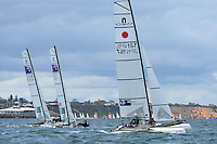 Nacra 17 fleet racing<br /> Racing -Day 1 / Nacra 17<br /> ISAF Sailing World Cup - Melbourne<br /> Sandringham Yacht Club<br /> Monday 8 December 2014<br /> &copy; Sport the library / Jeff Crow