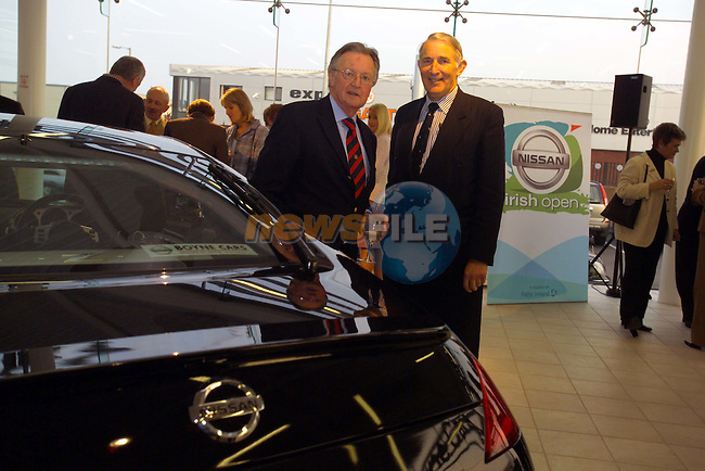 Dr. Eugene Kearney and Eamon Maguire at the launch of the Nissan Irish Open in Boyne Cars in Drogheda.Picture Fran Caffrey Newsfile