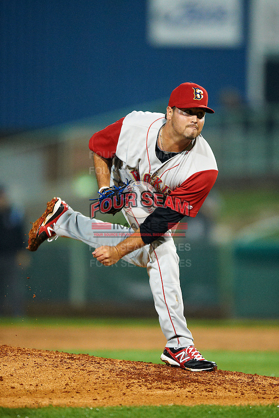 Brooklyn Cyclones pitcher John Mincone #25 during the NY-Penn League All-Star Game at Eastwood Field on August 14, 2012 in Niles, Ohio.  National League defeated the American League 8-1.  (Mike Janes/Four Seam Images)