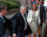 Brussels, Belgium -- July 16, 2014 -- European Council, EU-summit, meeting of Heads of State / Government to decide on the agenda and the composition of the new EU-Commission; here, arrival of Jean-Claude JUNCKER, President-elected of the European Commission -- Photo: © HorstWagner.eu