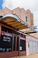 Abndoned pink Aloha Theatre in Hanapepe, Kauai