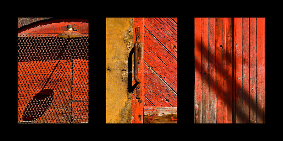 Industrial textures and abstracts - Shadows on Red, triptych