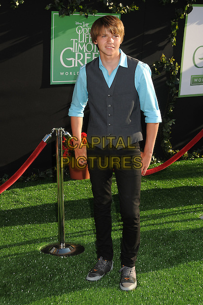 "Joel Courtney.""The Odd Life of Timothy Green"" Los Angeles Premiere, Hollywood, California, USA..August 6th, 2012.full length blue shirt grey gray waistcoat black jeans denim .CAP/ADM/BP.©Byron Purvis/AdMedia/Capital Pictures."