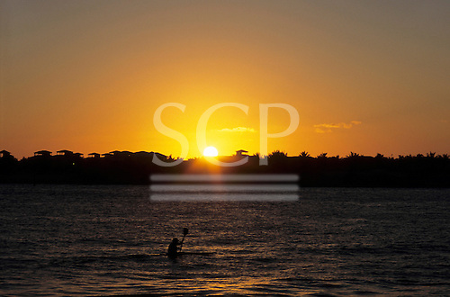 Florida, USA. Yellow ball of sun setting over houses and palm trees of island off Key West with man paddling kayak in front.