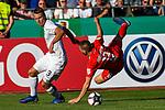 10.08.2019, Donaustadion, Ulm, GER, DFB Pokal, SSV Ulm 1846 Fussball vs 1. FC Heidenheim, <br /> DFL REGULATIONS PROHIBIT ANY USE OF PHOTOGRAPHS AS IMAGE SEQUENCES AND/OR QUASI-VIDEO, <br /> im Bild Michael Schindele (Ulm, #3), Robert Leipertz (Heidenheim, #13) geht nach Zweikampf zu Boden<br /> <br /> Foto © nordphoto / Hafner
