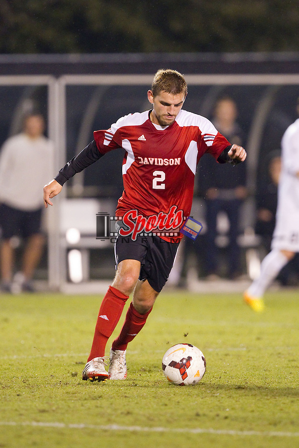 Ryan Malden (2) of the Davidson Wildcats controls the ball during second half action against the Wake Forest Demon Deacons at Spry Soccer Stadium on October 22, 2013 in Winston-Salem, North Carolina.  The Demon Deacons defeated the Wildcats 4-0.  (Brian Westerholt/Sports On Film)