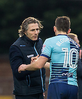 Wycombe Wanderers Manager Gareth Ainsworth with Matt Bloomfield of Wycombe Wanderers during the Sky Bet League 2 match between Wycombe Wanderers and Crawley Town at Adams Park, High Wycombe, England on 25 February 2017. Photo by Andy Rowland / PRiME Media Images.