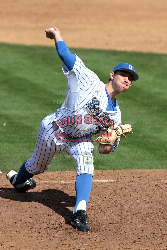 Zack Weiss #32 of the UCLA Bruins pitches against the Maryland Terrapins at Jackie Robinson Stadium on February 19, 2012 in Los Angeles,California. Maryland defeated UCLA 5-1.(Larry Goren/Four Seam Images)