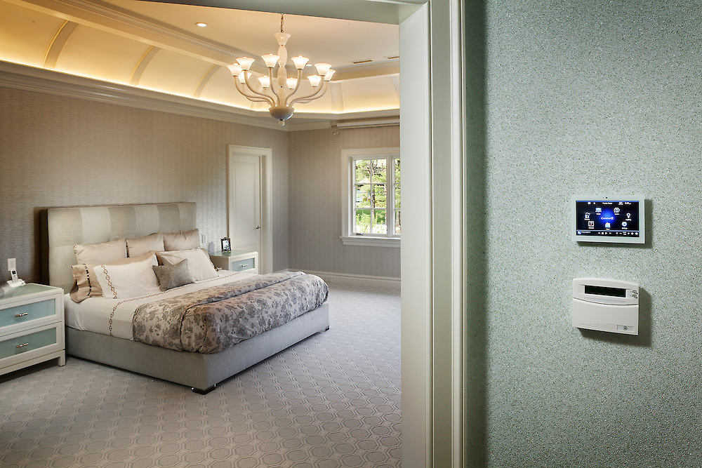 Bedroom with Control4 Panel