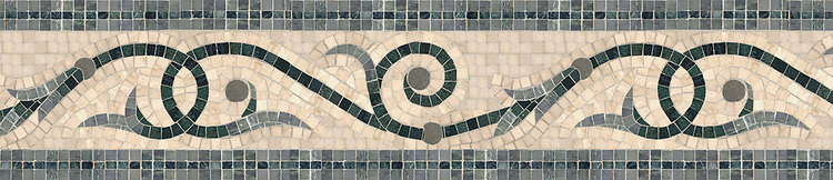 "8 3/4"" Golden Vine border, a hand-cut stone mosaic, shown in polished Travertine White, Kay's Green, Spring Green, Verde Alpi, and honed Montevideo."