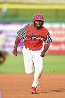 Clearwater Threshers outfielder Everett Williams (33) runs the bases during a game against the Dunedin Blue Jays on July 1, 2014 at Bright House Field in Clearwater, Florida.  Dunedin defeated Clearwater 1-0.  (Mike Janes/Four Seam Images)