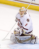 John Muse (BC - 1) - The Boston College Eagles defeated the University of Massachusetts-Amherst Minutemen 5-2 on Saturday, March 13, 2010, at Conte Forum in Chestnut Hill, Massachusetts, to sweep their Hockey East Quarterfinals matchup.