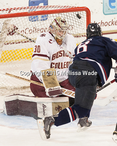 Spencer Naas (UConn - 8), Thatcher Demko (BC - 30) - The Boston College Eagles defeated the visiting University of Connecticut Huskies 3-2 on Saturday, January 24, 2015, at Kelley Rink in Conte Forum in Chestnut Hill, Massachusetts.