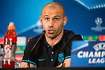 FC Barcelona player Javier Mascherano during the press conference the day before UEFA Champions League match between Atletico de Madrid and FC Barcelona at Hotel Eurostars in Madrid. April 13, 2016. (ALTERPHOTOS/Borja B.Hojas)