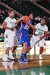 Texas Arlington Mavericks forward Briana Walker (21), North Texas Mean Green forward Alexis Hyder (33) and North Texas Mean Green guard BreAnna Dawkins (22) in action during the game between the Texas Arlington Mavericks and the North Texas Mean Green at the Super Pit arena in Denton, Texas. UTA defeats UNT 59 to 50...