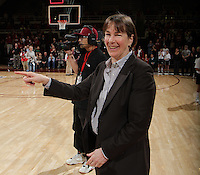 STANFORD, CA - February 23, 2012:  Head Coach Tara VanDerveer points to her Pac-12 Championship team after Stanford's 68-46 victory over Colorado in Stanford, California on February 23,  2012.