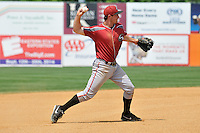 Third basemen Jarek Cunningham (25) of the Altoona Curve throws to first base during a game against the New Britain Rock Cats at New Britain Stadium on June 25, 2014 in New Britain, Connecticut.  New Britain defeated Altoona 3-1.  (Gregory Vasil/Four Seam Images)