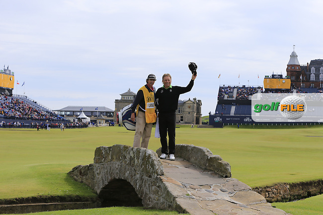 Bernhard Langer (GER) on the Swilcan Bridge at the 18th hole during Monday's Final Round of the 144th Open Championship, St Andrews Old Course, St Andrews, Fife, Scotland. 20/07/2015.<br /> Picture Eoin Clarke, www.golffile.ie