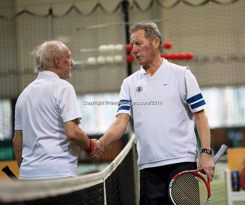 Hilversum, The Netherlands, 05.03.2014. NOVK ,Nat.Indoor Veterans Championships of 2014, Marcel Boerma (NED)(L) shakes hands with Gerard Scholtes(NED)<br /> Photo:Tennisimages/Henk Koster