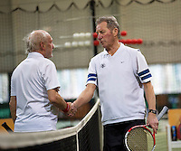Hilversum, The Netherlands, 05.03.2014. NOVK ,Nat.Indoor Veterans Championships of 2014, Marcel Boerma (NED)(L) shakes hands with Gerard Scholtes(NED)<br /> Photo:Tennisimages/Henk Koster